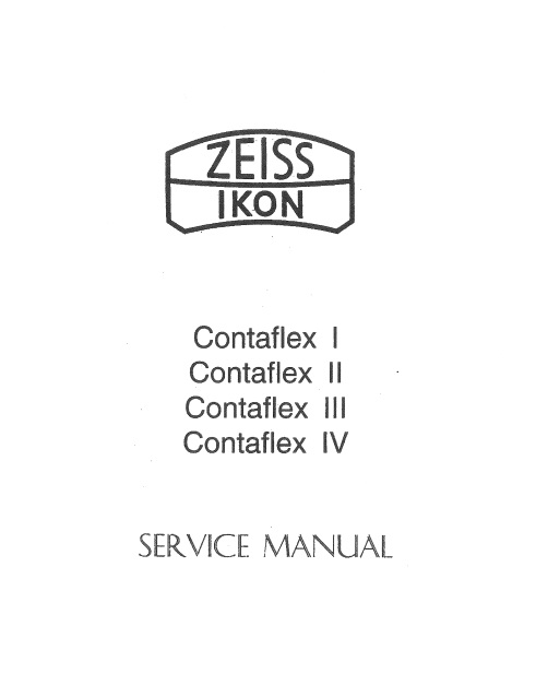 Contaflex I II III IV Zeiss Ikon Service Repair Manual