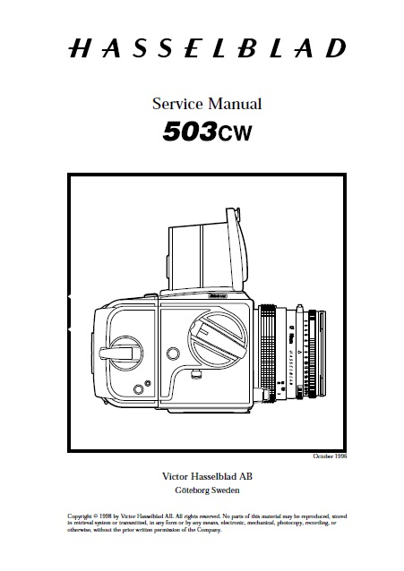 Hasselblad 503CW 501C 503CX 503CXi 500CM 501CM Service Repair Manual